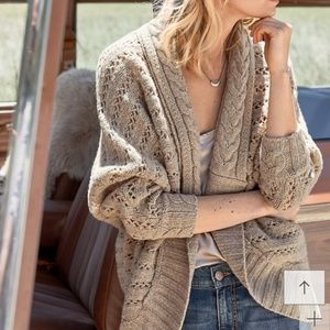Olive&Oak Cable Knit Cocoon Open Cardigan Sweater